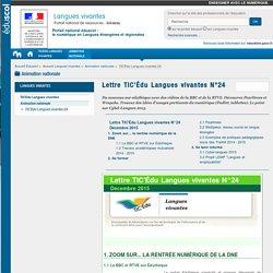 Lettre TIC'Édu Langues vivantes N°24 — Langues vivantes