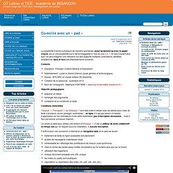 Co-écrire avec un « pad » - GT Lettres et TICE - Académie de BESANÇON