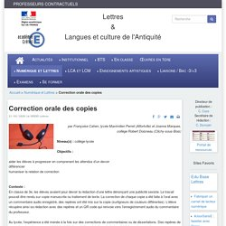 Lettres & Langues et culture de l'Antiquité - Correction orale des copies