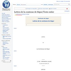 Lettres de la comtesse de Ségur/Texte entier