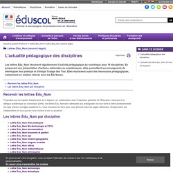 Lettres TIC' Édu (second degré) - Les lettres Tic'Édu par discipline