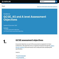 GCSE, AS and A level Assessment Objectives