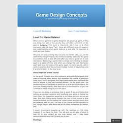 Level 16: Game Balance « Game Design Concepts