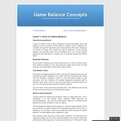 Level 1: Intro to Game Balance « Game Balance Concepts