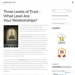 Three Levels of Trust – What Level Are Your Relationships?
