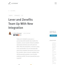 Lever and Zenefits Team Up With New Integration