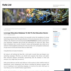 Leverage Education Database To Sell To the Education Sector