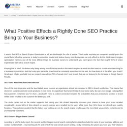 What Positive Effects a Rightly Done SEO Practice Bring to Your Business?