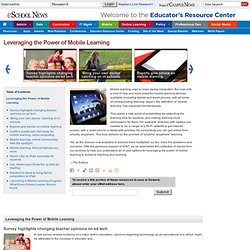 Leveraging the Power of Mobile Learning | Educator Resource Centers | eSchoolNews.com