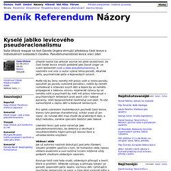 Saša Uhlová: Kyselé jablko levicového pseudoracionalismu