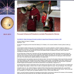 Resonance in the Tibetan Acoustic Levitation Traditions