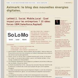 LeWeb11. Social, Mobile,Local : Quel impact pour les entreprises ? 10 idées forces (IBM,Salesforce,Rapleaf)