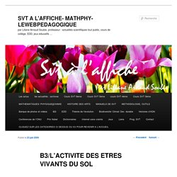 B3/L'ACTIVITE DES ETRES VIVANTS DU SOL - SVT A L'AFFICHE- MATHPHY-LEWEBPEDAGOGIQUESVT A L'AFFICHE- MATHPHY-LEWEBPEDAGOGIQUE