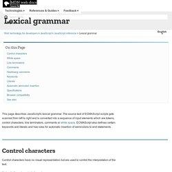 Lexical grammar mots clés réservés