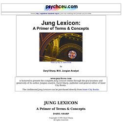 The Jung Lexicon by Jungian analyst, Daryl Sharp, Toronto