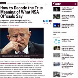 NSA lexicon: How James Clapper and other U.S. officials mislead the American public without lying