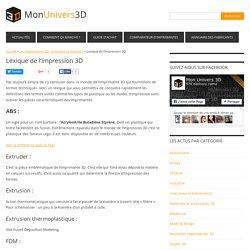Lexique de l'impression 3D