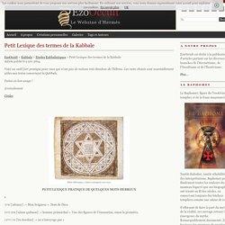 Petit Lexique des termes de la Kabbale « Etudes Kabbalistiques « Kabbale
