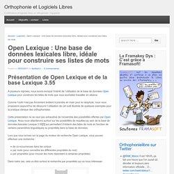 Open Lexique : Une base de données lexicales libre, idéale pour construire ses listes de mots