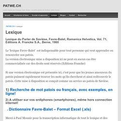 Lexique – PATWE.CH