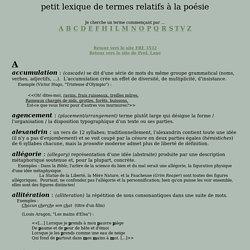 Lexique de termes relatifs à la poésie