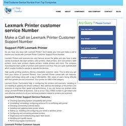 Lexmark Printer Customer Care Support Service Phone Number