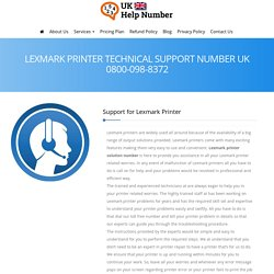 Lexmark Printer Support UK 0800-098-8372 Lexmark Printer