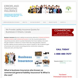 Ontario Business Liability Insurance Quotes