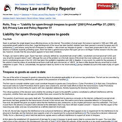 """Liability for spam through trespass to goods"" [2001] PrivLawPRpr 37; (2001) 8(4) Privacy Law and Policy Reporter 77"