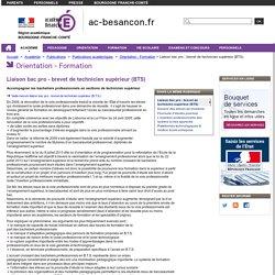 Liaison bac pro - brevet de technicien supérieur (BTS)