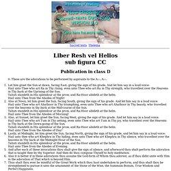 Liber CC - Resh vel Helios