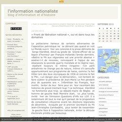 « Front de libération national », oui et dans tous les domaines