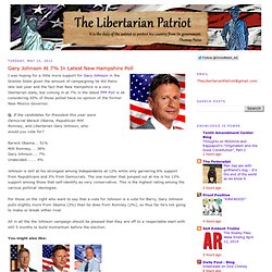 The Libertarian Patriot: Gary Johnson At 7% In Latest New Hampshire Poll