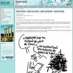 DESSIN DE PRESSE = LIBERTE DE LA PRESSE = LIBERTE D'EXPRESSION = LIBERTE DE (...) - Collège Maxime Javelly à Riez