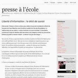 Liberté d'information : le droit de savoir