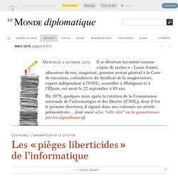 Les « pièges liberticides » de l'informatique [Louis Joinet, mars 1979]