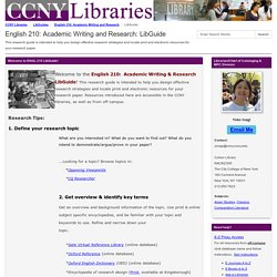 LibGuide - English 210: Academic Writing and Research - LibGuides at City College Libraries