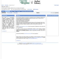 Ref Works - How do I cite...? - LibGuides at University of Regina