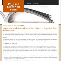 Georgia State eReserves Copyright Case for Librarians