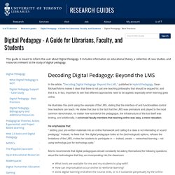 Digital Pedagogy - Best Practices - Digital Pedagogy - A Guide for Librarians, Faculty, and Students - Research guides at University of Toronto