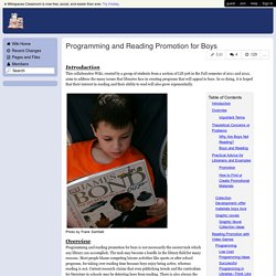 Youth Services Librarianship - Programming and Reading Promotion for Boys