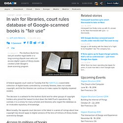 "In win for libraries, court rules database of Google-scanned books is ""fair use"""