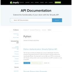 Python - Libraries - Shopify API - Developer Resources