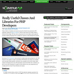 Really Useful Classes And Libraries For PHP Developers
