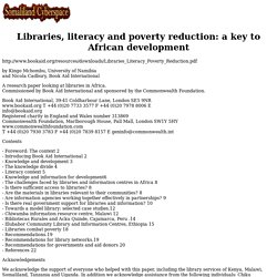 Libraries, literacy and poverty reduction: a key to African development