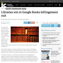 Libraries win in Google Books infringement suit
