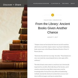 From the Library: Ancient Books Given Another Chance – Discover + Share