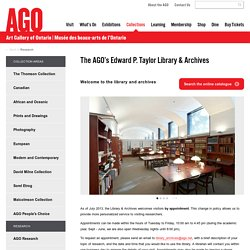 The AGO's Edward P. Taylor Library & Archives