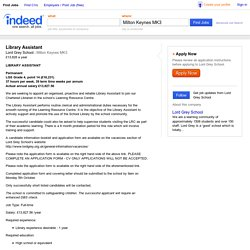 Library Assistant job - Lord Grey School - Milton Keynes MK3