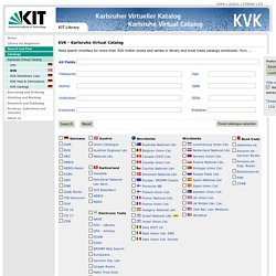 KVK, Karlsruhe Virtual Catalog - English